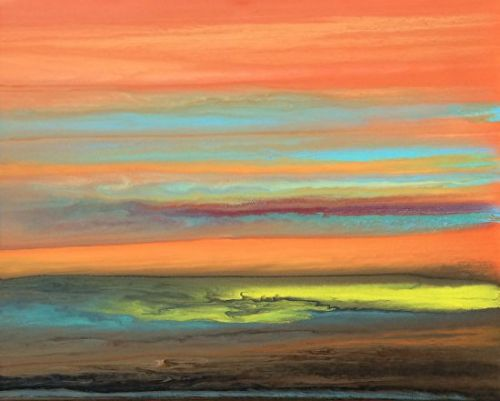 """Abstract Landscape Painting,Sunset ,Contemporary Landscape """"Blazing Sky Reflected X"""" by Colorado Contemporary Artist Kimberly Conrad"""