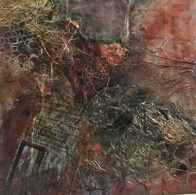 "Abstract Art, Contemporary Painting, Collage,""Red Ticket"" by Florida Contemporary Artist Mary Ann Ziegler"