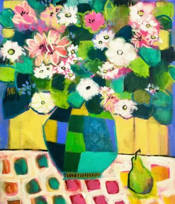 """Contemporary Abstract Still Life Art Painting """"You Send Me"""" by Santa Fe Artist Annie O'Brien Gonzales"""