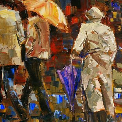 "Abstract Figurative Cityscape,Rainy Day Art Painting ""Rainy Season"" by Texas Artist Debra Hurd"