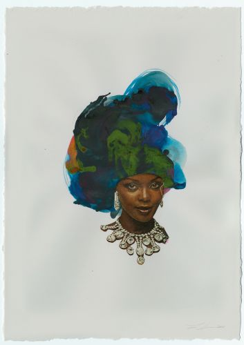 Swirls of Electrifying Ink and Found Crystal Formations Transformed into Hair by Lorna Simpson