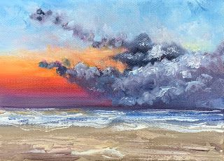One Last Sunrise, by Melissa A. Torres, 5x7 oil on canvas