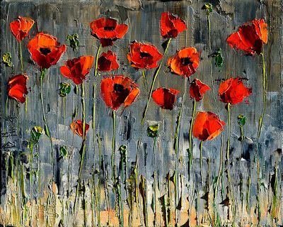 "Poppy Painting, Abstract Flower Landscape, Palette Knife Oil Paintings ""Happy Poppies"" by Texas Artist Debra Hurd"