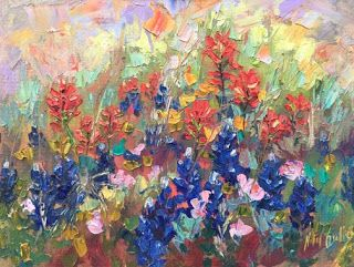 "New ""Wildflower Glory"" Palette Knife Bluebonnet Painting by Niki Gulley"
