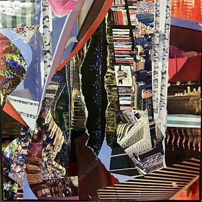 """Contemporary Abstract Art Painting, Mixed Media Collage """"California Dreaming"""" by New Orleans Artist Lou Jordan"""