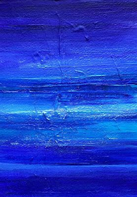 """Mixed Media Abstract Seascape Painting """"DEEP BLUE SURF II"""" by California Artist Cecelia Catherine Rappaport"""