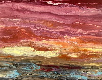 """Abstract Landscape, Sunset Painting, Contemporary Landscape """"Harmonious Reflections II"""" by International Contemporary Artist Kimberly Conrad"""