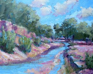 Creek Bound 10, New Contemporary Landscape Painting by Sheri Jones