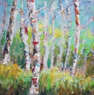 New Summer Hues Palette Knife Aspen Tree Painting by Niki Gulley