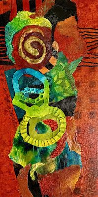"""Mixed Media Abstract Painting, """"MARDI GRAS"""" by Carol Nelson Fine Art"""