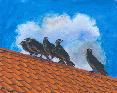 """Contemporary Wildlife Painting, Fine Art Painting """"The Fledglings"""" by Colorado Artist Nancee Jean Busse"""