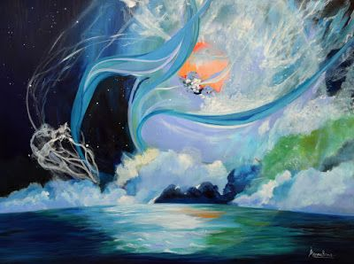 "Original Contemporary Seascape Painting ""Moisture On The Wings"" by International Contemporary Seascape Artist Arrachme"