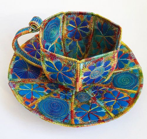 Ornate Jewel-Toned Stitches Embellish Common Household Objects Made From Textiles
