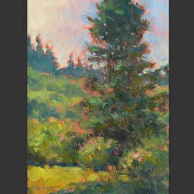 Spruce and Roses 12x9 Oil