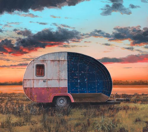 Abandoned Caravans and Castles House Mysterious Illuminated Portals in Andrew Mcintosh's Paintings