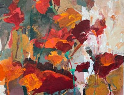 """Red Flowers, Contemporary Botanical Painting """"Spring Celebration"""" by Intuitive Artist Joan Fullerton"""