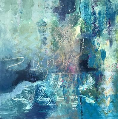 "Blue Art, Contemporary Art, Abstract Painting, Expressionism ""Cool Breeze"" by Contemporary Artist Liz Thoresen"