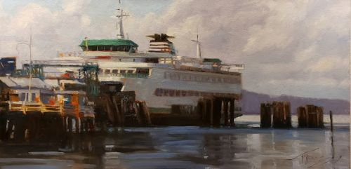"""""""The Walla Walla"""" Ferry to Edmonds, original ferry painting by Robin Weiss"""