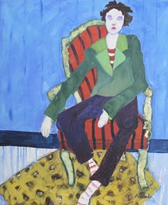 "Figurative Art Painting, Interior View, Red Chair ""Concentration"" by Oklahoma Artist Nancy Junkin"