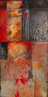 "Abstract Mixed Media Art Painting ""Red Beneath 14023"" by Colorado Mixed Media Abstract Artist Carol Nelson"
