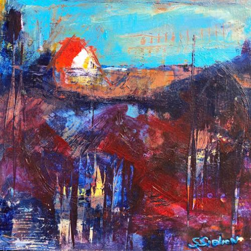 """""""Back Home"""" - Expressionist Landscape painting by Contemporary Arizona Artist, Sharon Sieben"""
