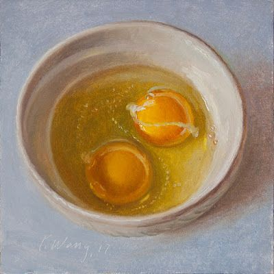 Egg in a bowl, still life oil painting food painting for kitchen