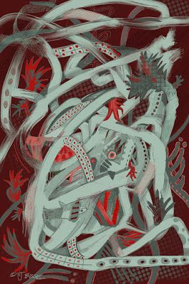 """Abstract Art, Digital Art, Red Art """"Stirring the Bees"""" by Colorado Artist Nancee Jean Busse"""