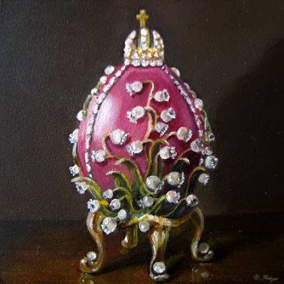 Faberge Easter Egg Lily of the Valley still life oil painting LITTLE GEMS