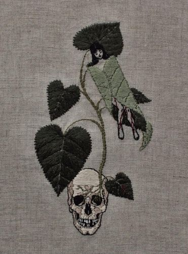 Dark and Delicate Hand Embroidered Piece by Adipocere Adipocere