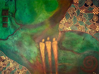 """Green Art,Abstract, Mixed Media Abstract Painting,""""As Above, So Below"""" by Contemporary Arizona Artist Pat Stacy"""