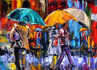 "Abstract Figurative Cityscape,Rainy Day Art Painting ""3 Big Umbrellas"" by Texas Artist Debra Hurd"