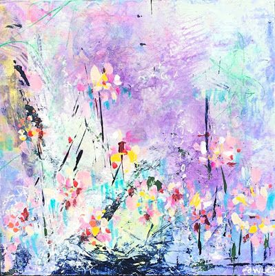 """Colorful Contemporary Abstract Expressionist Fine Art Painting """"BUBBLES"""