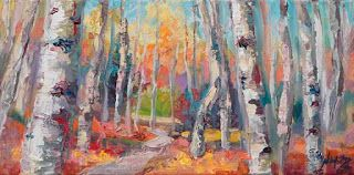 """New """"Walk About II"""" Textured Aspen Tree Painting by Niki Gulley"""