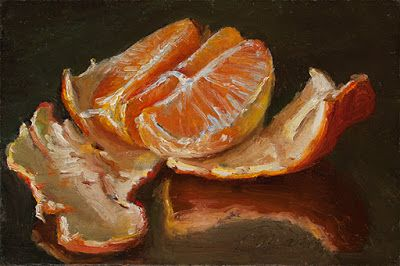 Mandarin orange peeled small original daily painting a painting a day
