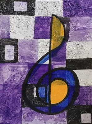 "Music Art, Treble Clef, Abstract Expressionism, Contemporary Art, Acrylic Painting ""Blue Note"" by Arizona Abstract Artist Cynthia A. Berg"