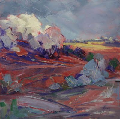 "Contemporary Colorado Landscape Painting, Fine Art Oil Painting ""Patch of Sun"" by Colorado Contemporary Fine Artist Jody Ahrens"