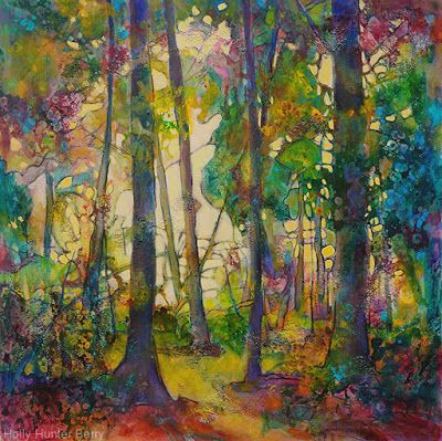 "Contemporary Landscape, Tree Painting, Mixed Media, ""Through The Stained Glass"", By Passionate Purposeful Painter Holly Hunter Berry"
