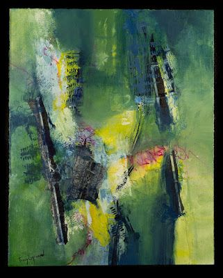 "Abstract Art, Mixed Media Abstract Painting, Expressionism, ""Burning Bridges"" by Contemporary Artist Tracy Lupanow"