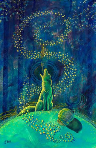 """Native American Folklore Art,Whimsical Wildlife Coyote Painting """"Coyote Spills The Stars"""" by Painter of the American West Nancee Jean Busse"""