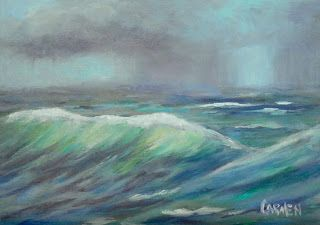 Stormy Day, 5x7 Original Oil on Canvas Panel Seascape
