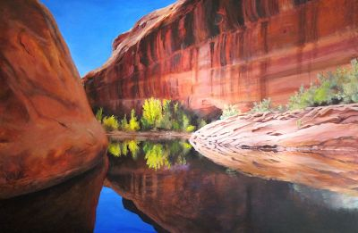 "Original Lake Powell Landscape Painting ""The End of Davis Gulch"" by Nancee Jean Busse Painter of the American West"