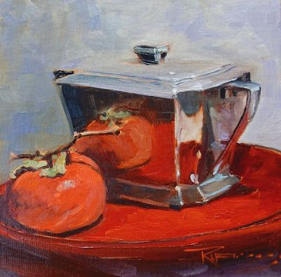 """Persimmon with Sugar Bowl"" Still life painting by Robin Weiss"