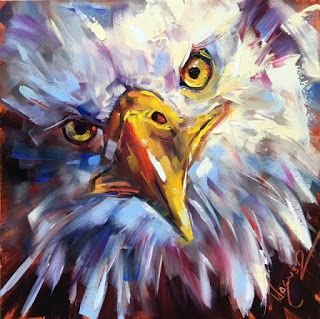 ORIGINAL CONTEMPORARY BALD EAGLE Painting on Panel in OILS by OLGA WAGNER