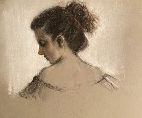 Katie Looking Down - original charcoal and compressed pastel stick portrait drawing