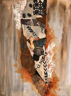 "Abstract Art, Contemporary Painting, Collage,""WESTERN BROWNS AND A MESSAGE"" by Florida Contemporary Artist Mary Ann Ziegler"