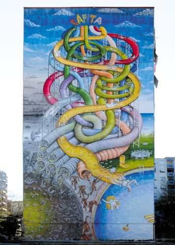A Multi-Color Water Slide by Blu Serves as a Harsh Critique of Capitalism in Rome
