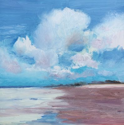 "Contemporary Beach and Ocean, ""Clouds and Shimmer,"" by Amy Whitehouse"