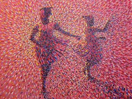 Innumerable Dots Cloak the Energetic Dancers in Betty Acquah's Pointillistic Paintings