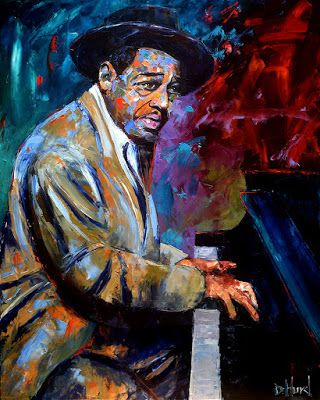 "Palette Knife Musician Art Portrait Oil Painting, Duke Ellington, ""The Duke"" by Texas Artist Debra Hurd"