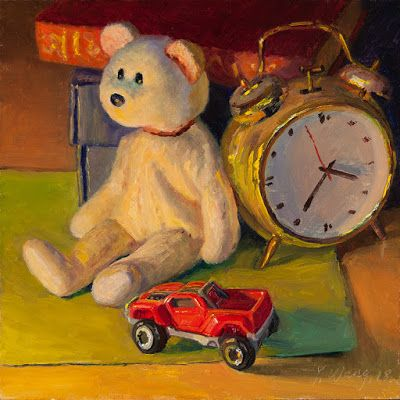 Still life with a teddy bear stuff animal and a clock, original oil painting contemporary realism